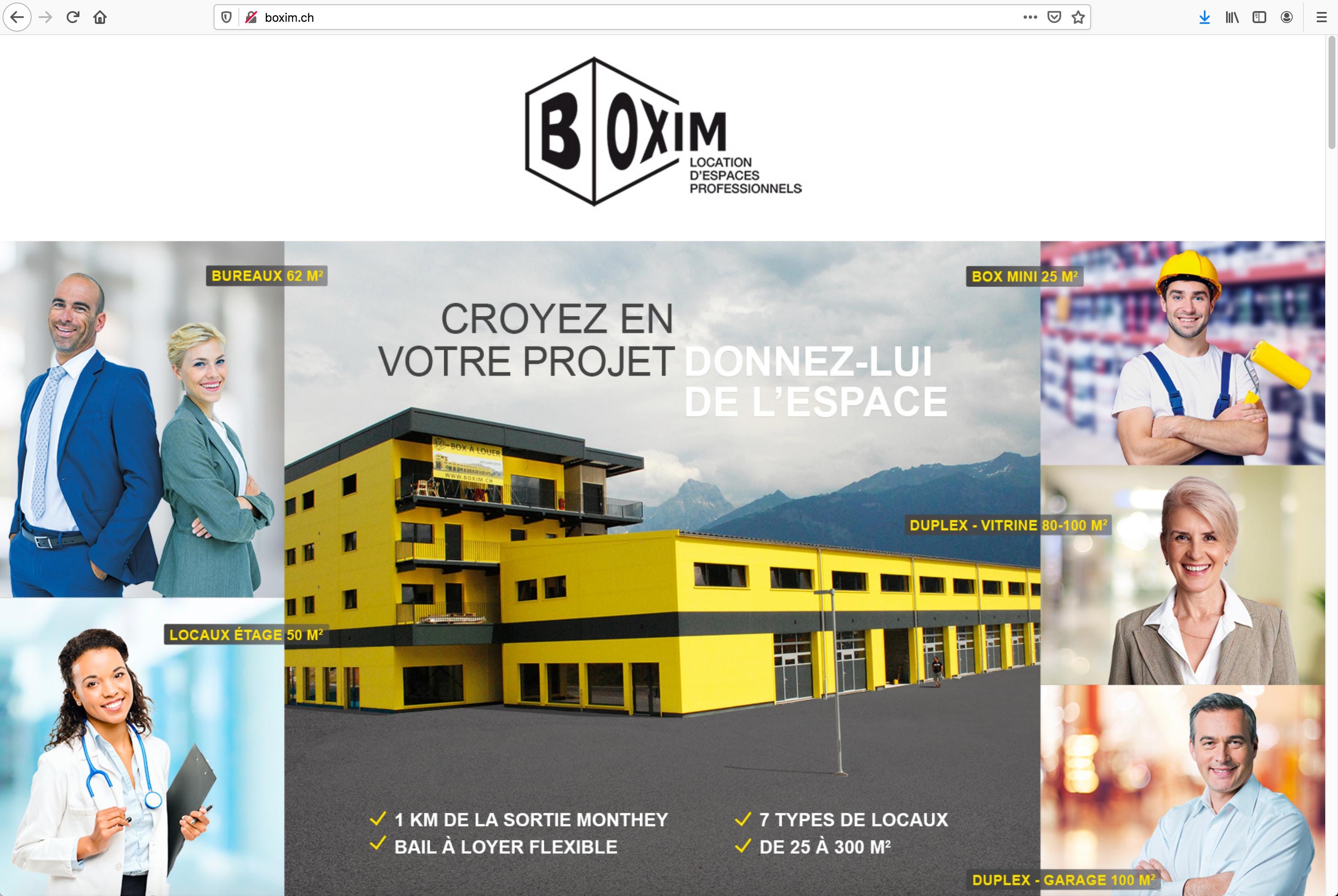 BOXIM – Un site web relié à une plateforme de location