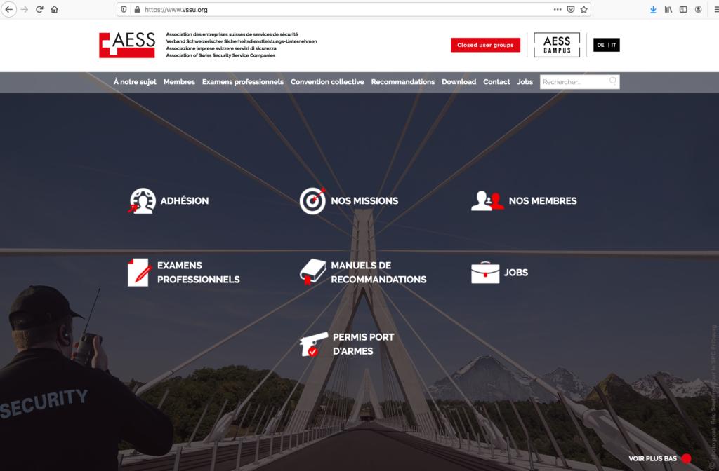 VSSU / AESS - le nouveau site de l'association des entreprises de sécurité